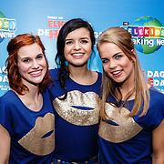 NLD/Hilversum/20160129 - K3 bij RTL Telekids, K3, Hanne Verbruggen, Marthe De Pillecin en Klaasje Meijer