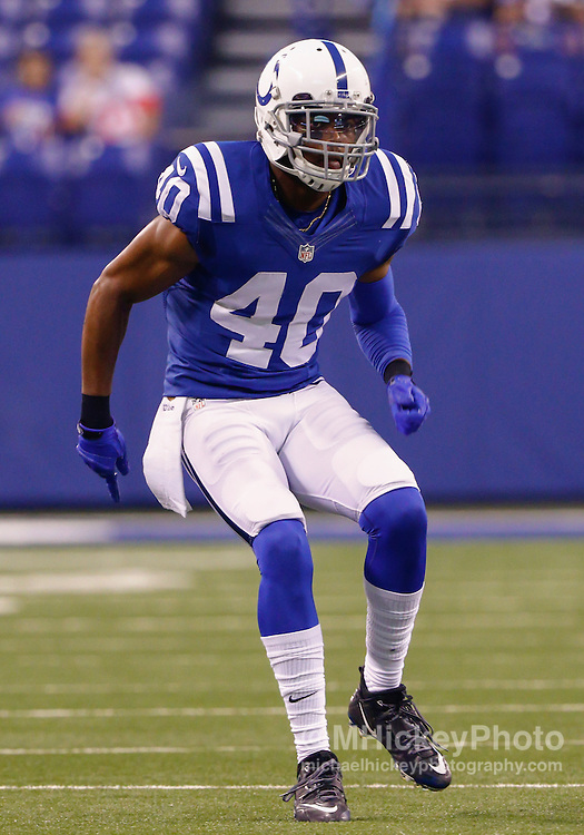INDIANAPOLIS, IN - SEPTEMBER 3: Sheldon Price #40 of the Indianapolis Colts is seen during the game against the Cincinnati Bengals at Lucas Oil Stadium on September 3, 2015 in Indianapolis, Indiana. (Photo by Michael Hickey/Getty Images) *** Local Caption *** Sheldon Price