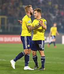 Scotland's Johnny Russell celebrates scoring his side's second goal of the game with Ryan Fraser (right) during the UEFA Euro 2020 Qualifying, Group I match at the San Marino Stadium, Serravalle.