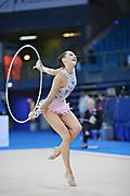 Halkina Katsiaryna during qualifying at hoop in Pesaro World Cup 26 April 2013. Katsiaryna is a Belarusian rhythmic gymnastics athlete born February 25, 1997 in Minks, Belarus.