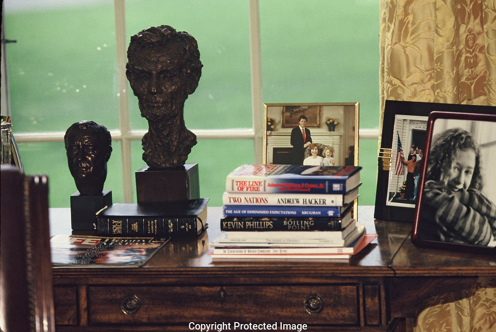 The credenza behind the desk of President William Clinton in the Oval Office in 1993<br /><br />Photograph by Dennis Brack