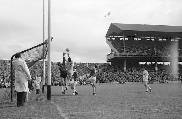 Sligo's J. Brennan (no.3) and goalkeeper P. McLoughlin try to save the ball from M.Doherty but were unsuccessful during the All Ireland Minor Gaelic Football Final Sligo v. Cork in Croke Park on the 22nd September 1968. Cork 3-5, Sligo 1-10.