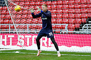 Wimbledon goalkeeper Aaron Ramsdale (35), on loan from Bournemouth, warming up  during the EFL Sky Bet League 1 match between Sunderland and AFC Wimbledon at the Stadium Of Light, Sunderland, England on 2 February 2019.