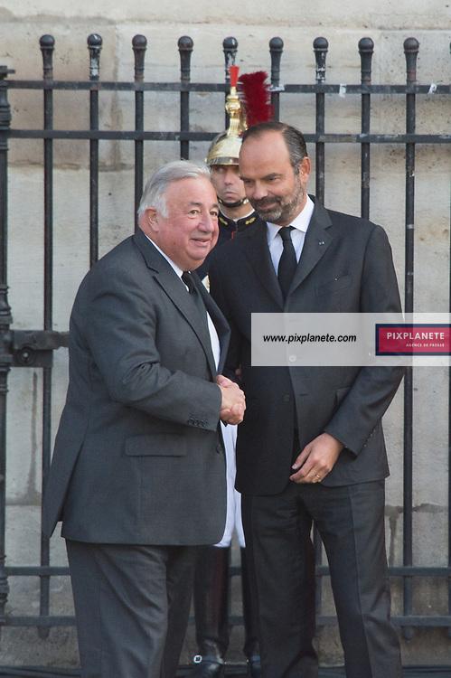 Edouard Philippe _Gérard Larcher Obsèques de Jacques Chirac Lundi 30 Septembre 2019 église Saint Sulpice Paris