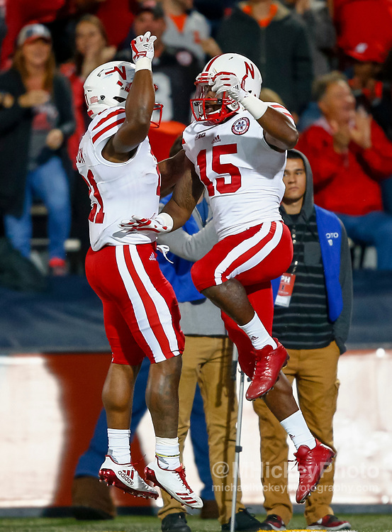 CHAMPAIGN, IL - SEPTEMBER 29: Mikale Wilbon #21 and De'Mornay Pierson-El #15 of the Nebraska Cornhuskers celebrate a touchdown against the Illinois Fighting Illini at Memorial Stadium on September 29, 2017 in Champaign, Illinois. (Photo by Michael Hickey/Getty Images) *** Local Caption *** Mikale Wilbon; De'Mornay Pierson-El