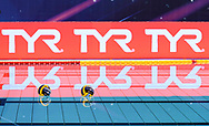 Venues Sponsor<br /> Tyr<br /> - (white cap) vs  -(blue cap)<br /> LEN Champions League Ostia<br /> Polo Natatorio Freccia Rossa <br /> Ostia, Italy ITA <br /> Photo © G. Scala/Deepbluemedia