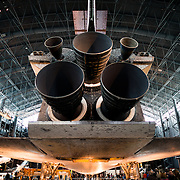 The massive thrusters on the tail of the Discovery at the Smithsonian Air and Space Museum. The decommissioned Space Shuttle Discovery is on permanent display in the James S. McDonnell Space Hangar at the Smithsonian's National Air and Space Museum's Udvar-Hazy Center in Chantilly, Virginia, just outside Washington DC. The shuttle arrived at the museum on April 19, 2012, and replaces the Space Shuttle Enterprise.