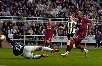 Photo: Jed Wee.<br /> Newcastle United v Bolton Wanderers. The Barclays Premiership. 15/10/2006.<br /> <br /> Bolton's El Hadji Diouf (R) scores his first goal.
