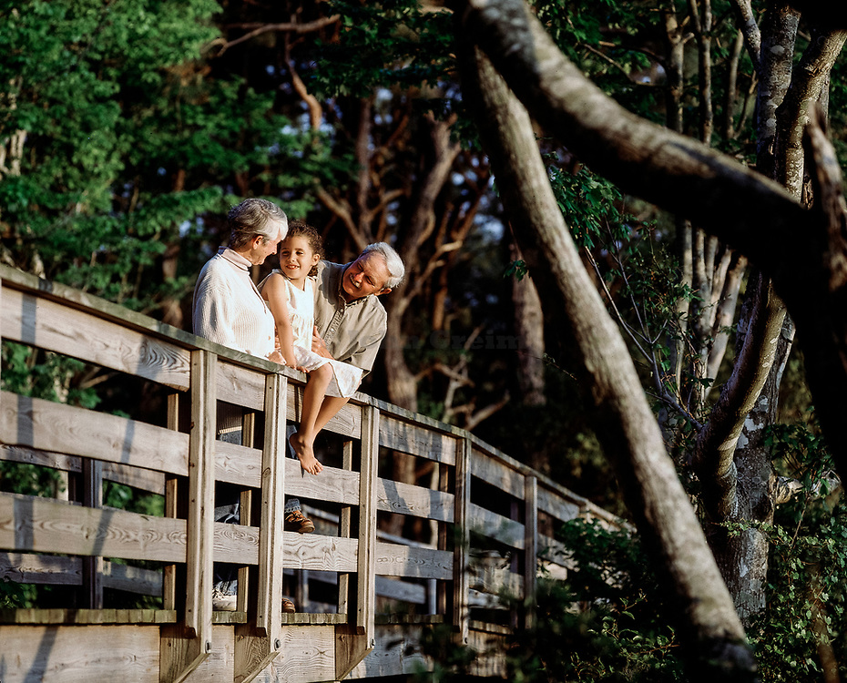 Grandparents enjoy quality time with granddaughter, Outer Banks, North Carolina
