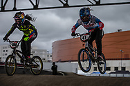 #100 (PAJON Mariana) COL and #41 (SUVOROVA Natalia) RUS at the 2018 UCI BMX Superscross World Cup in Saint-Quentin-En-Yvelines, France.