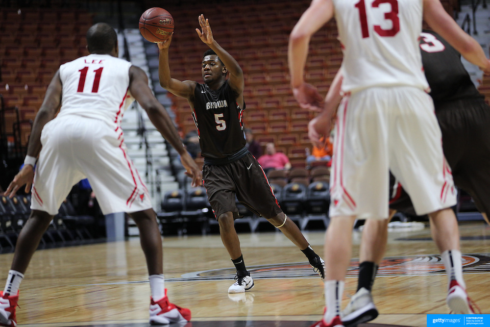 Tavon Blackmon, Brown, in action during the Marist vs Brown Men's College Basketball game in the Hall of Fame Shootout Tournament at Mohegan Sun Arena, Uncasville, Connecticut, USA. 22nd December 2015. Photo Tim Clayton