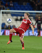 Grant Leadbitter of Middlesbrough in action.Skybet football league championship match, Cardiff city v Middlesbrough at the Cardiff city Stadium in Cardiff, South Wales  on Tuesday 20th October 2015.<br /> pic by  Andrew Orchard, Andrew Orchard sports photography.