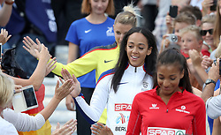 Great Britain's Katarina Johnson-Thompson makes her way through the crowds on her way to receive her Silver medal in the Women's Heptathlon, during day five of the 2018 European Athletics Championships at the Olympic Stadium, Berlin.