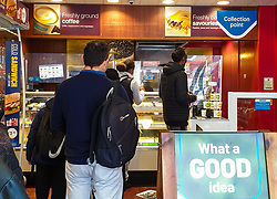 © Licensed to London News Pictures. 05/10/2021. London, UK. Customers inside a branch of Greggs in north London. Greggs, the bakery chain, warns of price increases of sausage rolls, pasties and steak bakes following the coronavirus and supply chain crises. Photo credit: Dinendra Haria/LNP