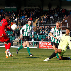 TELFORD COPYRIGHT MIKE SHERIDAN 29/9/2018 - CHANCE. Amari Morgan-Smith of AFC Telford sees his shot saved by Peter Jameson of Blyth during the Conference North fixture between Blyth Spartans and AFC Telford United at Croft Park, Blyth.
