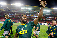 CAPE TOWN, SOUTH AFRICA - JUNE 23: South African player `Siya Kolisi (captain) waves at the crowd after loosing to England at Newlands Stadium on June 23, 2018 in Cape Town, South Africa. (Photo by MB Media/Getty Images)