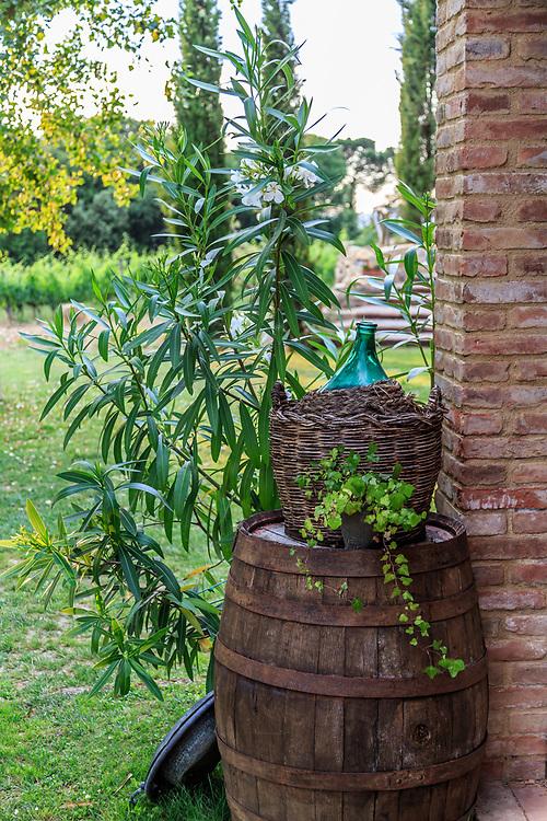 A wine barrel in Tuscany, Italy.