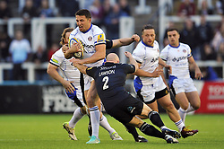 Sam Burgess of Bath Rugby is tackled by Scott Lawson of Newcastle Falcons - Photo mandatory by-line: Patrick Khachfe/JMP - Mobile: 07966 386802 10/04/2015 - SPORT - RUGBY UNION - Newcastle upon Tyne - Kingston Park - Newcastle Falcons v Bath Rugby - Aviva Premiership