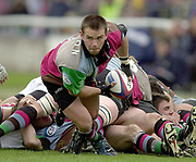 Twickenham, Surrey, England,  UK., 14/05/2003, Billy Fulton, moves the ball away from the base of the scrum,<br /> during, the Zurich Premiership Rugby match, NEC Harlequins vs Leicester Tigers, played at the Stoop Memorial Ground, [Mandatory Credit: Peter Spurrier/Intersport Images]