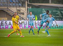 43# Chinwendu Johan Nkama of ND Gorica and 5# Janez Pisek of NK Domzale during the match of 6. Round, 1.st Slovenian National Football League between NK Domzale and ND Gorica, on 03.10.2020 in Domzale, Slovenia. Photo by Urban Meglič / Sportida