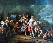 The Rape of Europa by Nicolass Verkolje (1673-1746) oil on panel, c. 1755-1740.  Zeus, the king of the gods, has disguised himself as a bull in order to seduce the chaste maiden Europa.  To their right Cupid stands ready to shoot his arrows of love.  In depicting this story from the Metamorphoses, the famous book by the Roman poet Ovid, Verkolje demonstrates his knowledge of Classical literature.  Moreover, he proves his artistic virtuosity by means of the complex composition with numerous figures.