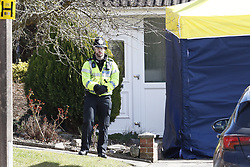 © Licensed to London News Pictures. 08/03/2018. Salisbury, UK. Salisbury. Police activity has increased at the home of Sergei Skripal. Former Russian spy Sergei Skripal, his daughter Yulia and a policeman are still critically ill after being poisoned with nerve agent. The couple where found unconscious on bench in Salisbury shopping centre. Authorities continue to investigate. Photo credit: Peter Macdiarmid/LNP