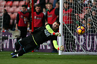 Football - 2016 / 2017 Premier League - Southampton vs. West Bromwich Albion<br /> <br /> Jack Rose of West Bromwich Albion makes a save during the pre match warm up at St Mary's Stadium Southampton England<br /> <br /> COLORSPORT/SHAUN BOGGUST
