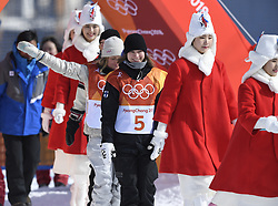 February 12, 2018 - Pyeongchang, South Korea - ENNI RUKAJARVI of Finland (#5) leads the procession of athletes to the award stand after the Womens Snowboard Slopestyle finals at Phoenix Snow Park at the Pyeongchang Winter Olympic Games. Rukajarvi won bronze.  Photo by Mark Reis, ZUMA Press/The Gazette (Credit Image: © Mark Reis via ZUMA Wire)