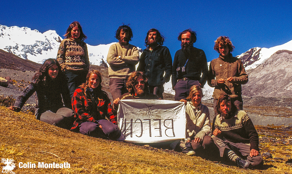 1974 Commonwealth Andean Expedition to Cordillera Vilcanota, British Empire Loyalist Climbing Herd Back row L to R: Pauline O'Connor, Keith Woodford, Colin Monteath, Art Twomey, Mike Browne, Front row: Betty Heslip, Jos lang, Eleanor & Jim Jolly