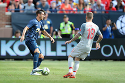 July 28, 2018 - Ann Arbor, Michigan, United States - Matteo Darmian (36) of Manchester carries the ball under the pressure of Alberto Moreno (18) of Liverpool during an International Champions Cup match between Manchester United and Liverpool at Michigan Stadium in Ann Arbor, Michigan USA, on Wednesday, July 28,  2018. (Credit Image: © Amy Lemus/NurPhoto via ZUMA Press)
