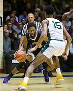 San Francisco State forward Derrick Brown (22) attacks the basket against the San Francisco Dons at Kezar Pavilion in San Francisco, Calif., on December 6, 2016. (Stan Olszewski/Special to S.F. Examiner)