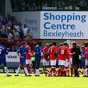 Charlton Athletic's plead with the referee after he sent of Paul Konchesky against Chelsea.
