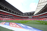 a general view Inside Wembley stadium before k.o Skybet football league one play off final match , Leyton Orient  v Rotherham Utd at Wembley Stadium in  London on Sunday 25th May 2014.<br /> pic by John Patrick Fletcher, Andrew Orchard sports photography.