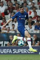 ISTANBUL, TURKEY - AUGUST 14: Mason Mount of Chelsea in action during the UEFA Super Cup match between Liverpool and Chelsea at Vodafone Park on August 14, 2019 in Istanbul, Turkey. (Photo by MB Media/Getty Images)