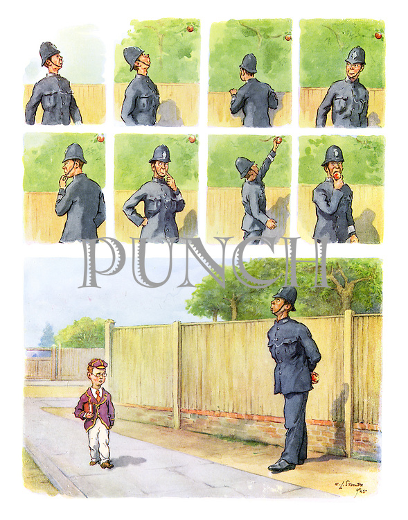 (A police man about to steal an apple from a tree is eyed suspiciously by a passing school boy)
