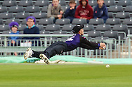 Chris Dent of Gloucestershire drops Nick Compton of Middlesex during the NatWest T20 Blast South Group match between Gloucestershire County Cricket Club and Middlesex County Cricket Club at the Bristol County Ground, Bristol, United Kingdom on 15 May 2015. Photo by Shane Healey.