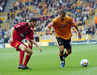 Photo: Kevin Poolman.<br />Wolverhampton Wanderers v Colchester United. Coca Cola Championship. 14/10/2006. Wolves' Jay Bothroyd (R) looks for a way past Pat Baldwin.
