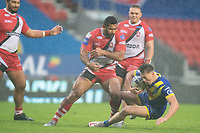 Rugby League - 2020 Coral Challenge Cup - Salford Red Devils vs Warrington Wolves - TW Stadium, St Helen's<br /> <br /> Warrington Wolves's Matty Ashton is tackled<br /> <br /> COLORSPORT/TERRY DONNELLY
