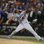 Pitcher Chris Hatcher, Los Angeles Dodgers, pitching during the New York Mets Vs Los Angeles Dodgers, game four of the NL Division Series at Citi Field, Queens, New York. USA. 13th October 2015. Photo Tim Clayton
