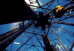 Stock photo of a view looking up from the bottom of a rig