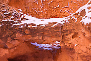 Fresh powder on canyon wall, Bryce Canyon National Park, Utah
