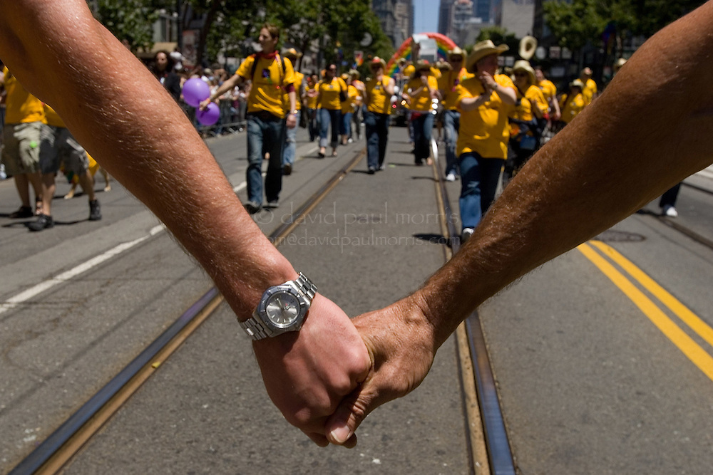 SAN FRANCISCO, CA - JUNE 24 : Marchers take part in the 37th annual LBGT Pride Parade on June 24, 2007 in San Francisco, California. Hundreds of thousands of people lined the streets of San Francisco to watch and take part in the parade.  (Photograph by David Paul Morris)