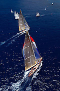 Velsheda and Ranger sailing in the Butterfly Race at the Antigua Classic Yacht Regatta.