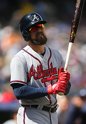 April 8, 2018 - Denver, CO, U.S. - DENVER, CO - APRIL 08: Atlanta Braves Outfielder Ender Inciarte (11) waits on deck during a regular season MLB game between the Colorado Rockies and the visiting Atlanta Braves on April 8, 2018 at Coors Field in Denver, CO. (Photo by Russell Lansford/Icon Sportswire) (Credit Image: © Russell Lansford/Icon SMI via ZUMA Press)
