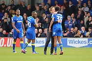 AFC Wimbledon manager Neal Ardley hugging AFC Wimbledon defender Tony Sibbick (35) during the EFL Sky Bet League 1 match between AFC Wimbledon and Peterborough United at the Cherry Red Records Stadium, Kingston, England on 17 April 2017. Photo by Matthew Redman.
