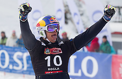 Roland Fischnaller of Italy celebrates after winning the FIS Snowboard World Cup Rogla 2013 in Parallel Giant slalom, on February 8, 2013 in Rogla, Slovenia. (Photo By Vid Ponikvar / Sportida.com)