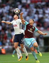 27 August 2017 - Premier League Football - Tottenham Hotspur v Burnley - Jan Vertonghen of Tottenham and Sam Vokes of Burnley battle for a header - Photo: Charlotte Wilson