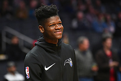 January 6, 2019 - Los Angeles, CA, U.S. - LOS ANGELES, CA - JANUARY 06: Orlando Magic Center Mo Bamba (5) looks on before during a NBA game between the Orlando Magic and the Los Angeles Clippers on January 6, 2019 at STAPLES Center in Los Angeles, CA. (Photo by Brian Rothmuller/Icon Sportswire) (Credit Image: © Brian Rothmuller/Icon SMI via ZUMA Press)