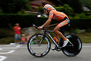 France, Talloire, 22 July 2009: Alan Perez Lezaun (Spa) Euskaltel - Euskadi on the Côte de Bluffy climb during Stage 18 - a 40.5 km Annecy to Annecy individual time trial. Photo by Peter Horrell / http://peterhorrell.com .