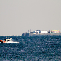 The United States Coast Guard 25702 racing north in the Atlantic Ocean offshore of Loch Arbor NJ.